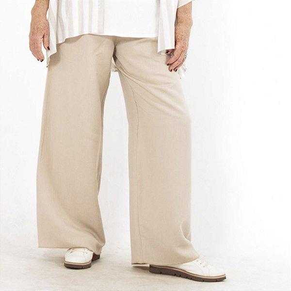 Calça Pantalona Plus Size de Linho Aveia