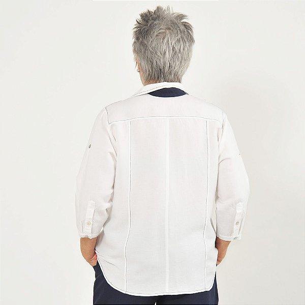 4c90f0b70 Camisa Plus Size de Linho Branca e Marinho - EmeElle | Loja Virtual