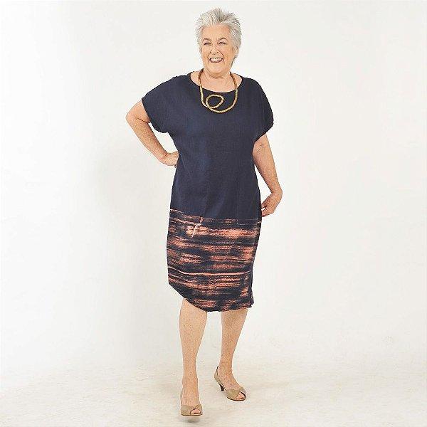 Vestido Plus Size de Linho Tubo Marinho Aquarela