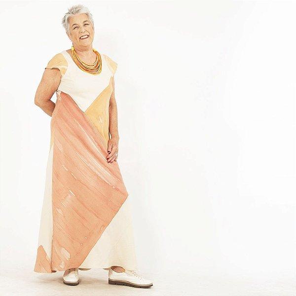 Vestido Plus Size de Linho Aquarela Quadrado Laranja