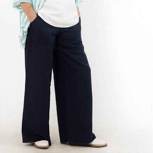 Calça Pantalona Plus Size de Linho Marinho