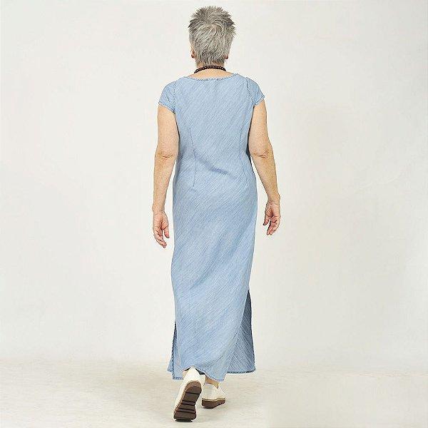 Vestido Plus Size de Tencel Indigo Pespontos
