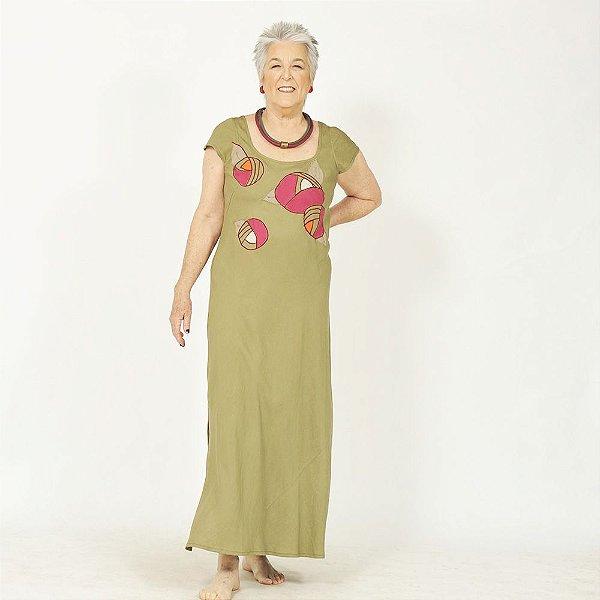 Vestido Plus Size de Linho Verde Flores