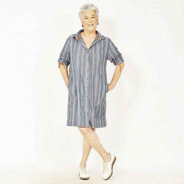 Vestido Chemise Plus Size de Algodão Listrado Índigo