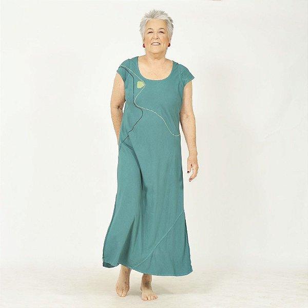 Vestido Plus Size Bamboo Bordado Jade