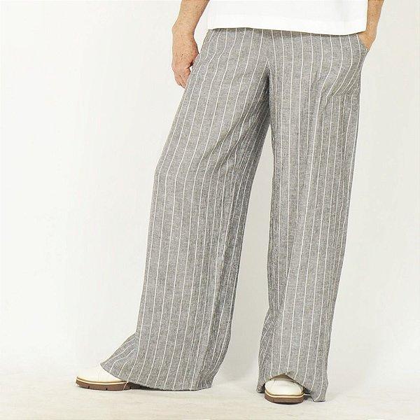 Calça Pantalona Plus Size de Linho Risca de Giz Grafite
