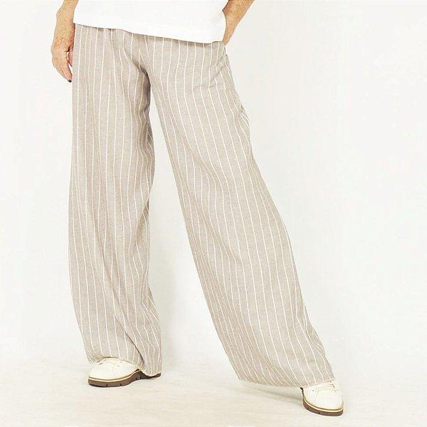 Calça Pantalona Plus Size de Linho Risca de Giz Amêndoa