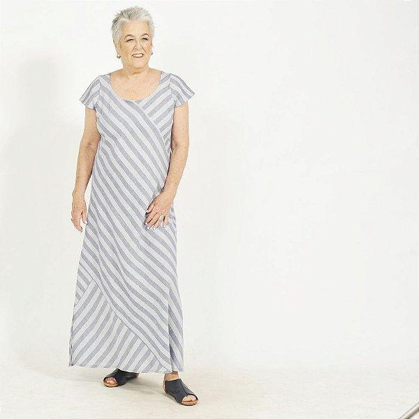 Vestido Plus Size de Linho Patchwork Azul