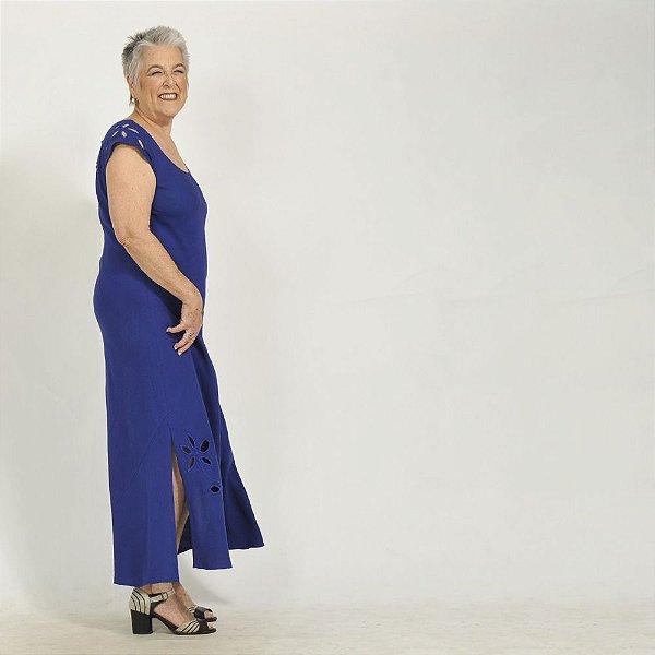 Vestido Plus Size de Linho Rechilieu Azul Bic