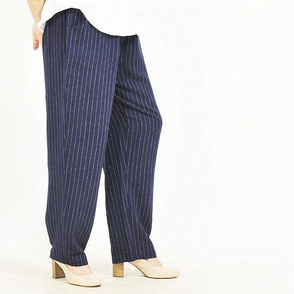 Calça Plus Size de Linho Risca de Giz Marinho