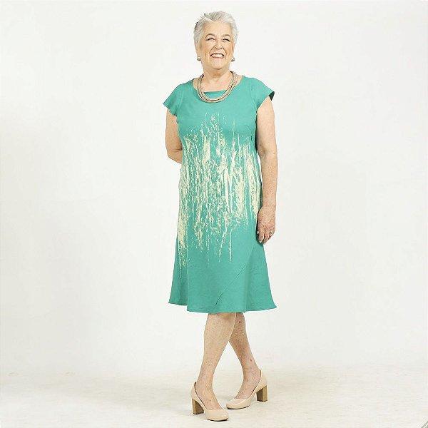 Vestido Midi Plus Size de Linho Aquarela Verde