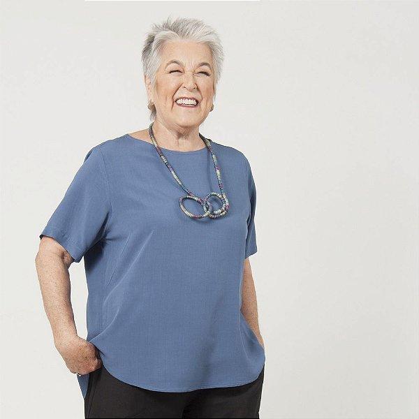 Camiseta Plus Size de Viscose Azul Navy