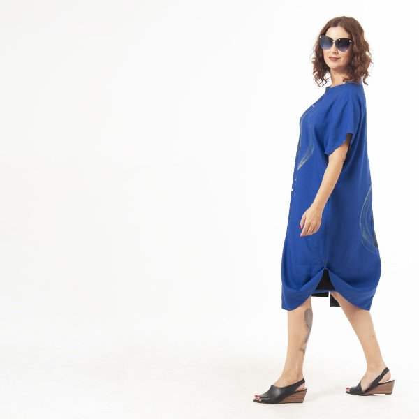 Vestido Tubo Plus Size de Linho Aquarela Flor Anil
