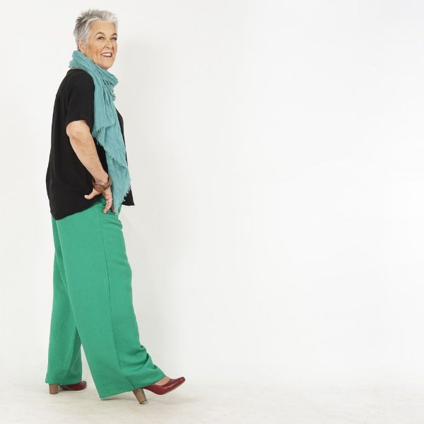 Calça Pantalona Plus Size de Linho Esmeralda