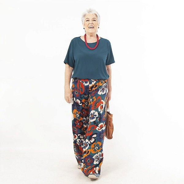 Calça Pantalona Plus Size de Viscose Flores Verde Petróleo|Laranja
