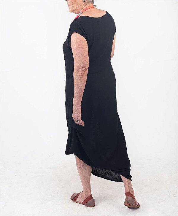 Vestido Amarração Viscolinho Preto