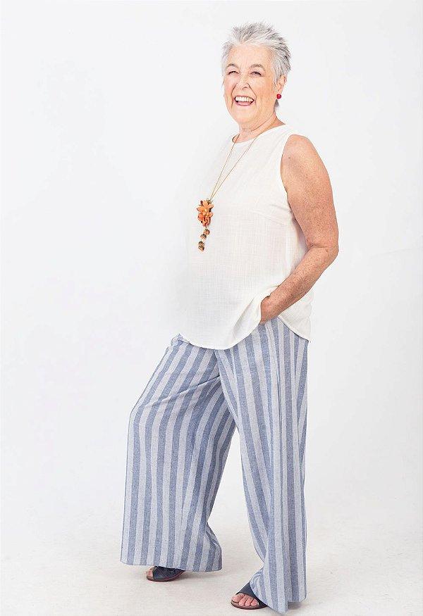 Calça Pantalona Plus Size de Linho Listra Azul