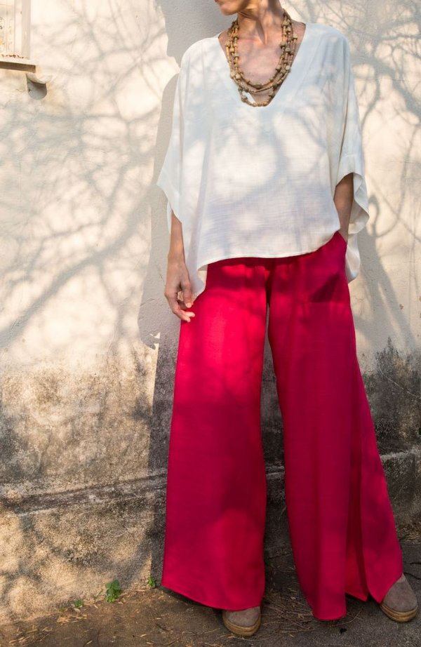 Calça Pantalona Barra Ampla Viscolinho Pink