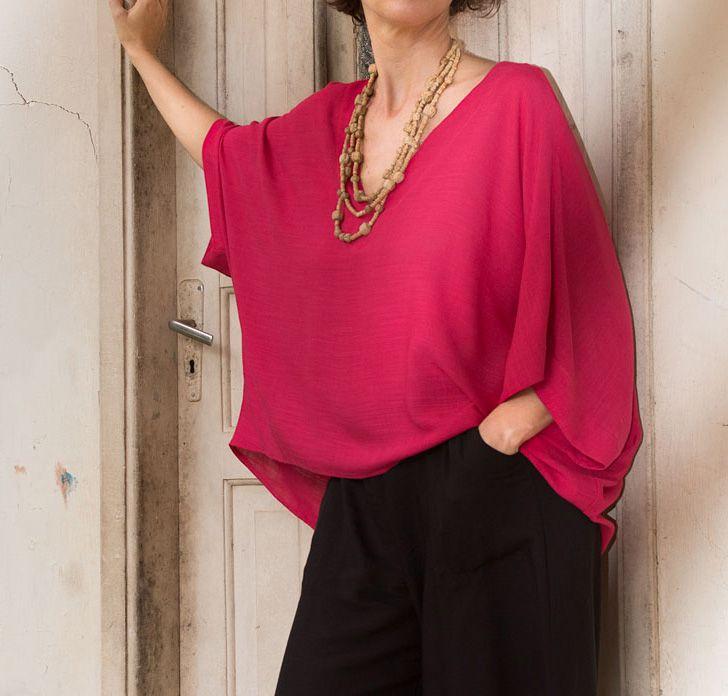 Blusa Soft Decote V Viscolinho Pink