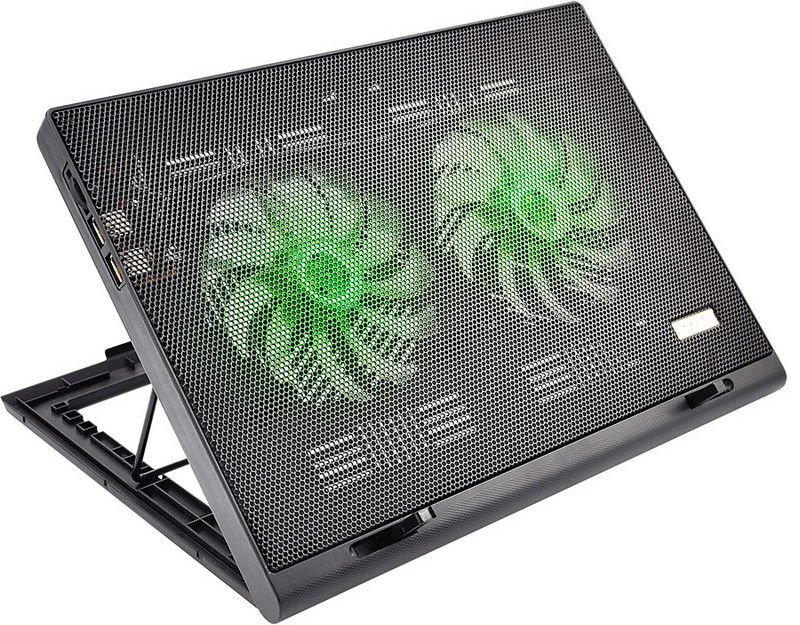 "Cooler para Notebook Multilaser Warrior Power Gamer AC267 LED"" Verde Luminoso"