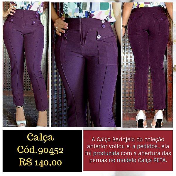 2011f10270 Calça Alfaiataria Feminina Social Reta Cor Berinjela com Corte Assimetrico  na Barra