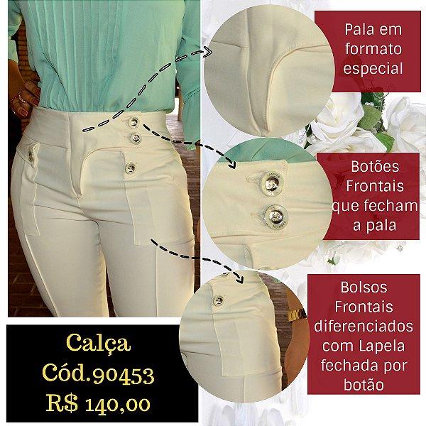 758005f826 Calça Alfaiataria Feminina Social Reta Off-White com Corte Assimetrico na  Barra