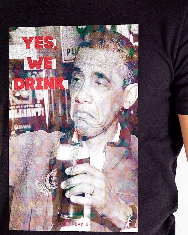 Camiseta Masculina Estampada Preta Obama