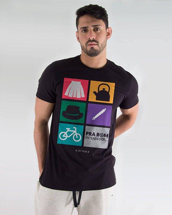 Camiseta Masculina Estampada Preta Pra Bom Entendedor