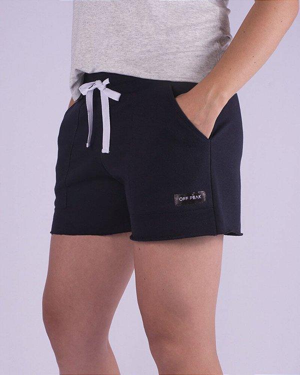 Shorts Moletom Feminino Azul Sport Basic
