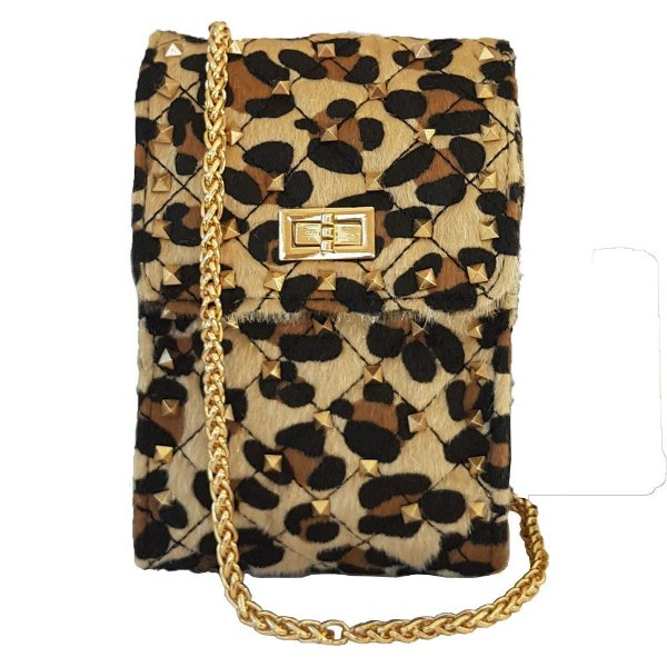 Mini Bolsa Bag Dreams Animal Print Com Spikes Nude