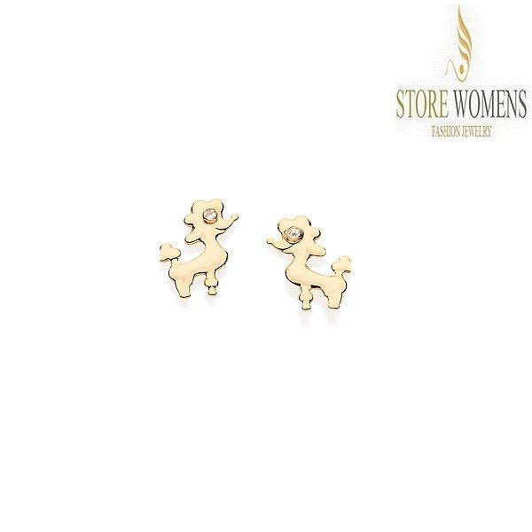 BRINCOS ROMMANEL INFANTI CACHORRO (POODLE) COM CRISTAIS 525109