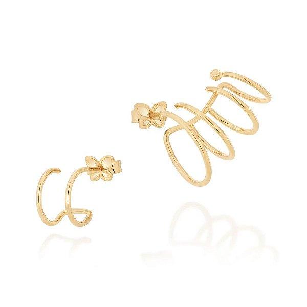 BRINCOS ROMMANEL EAR CUFF COM 4 ARGOLAS LISAS 526361 420048