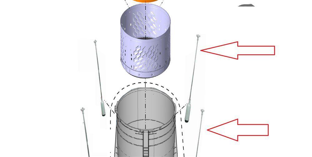 Vara de suspenção traseira cor amarela  lavadora panasonic W034I-6P5B0