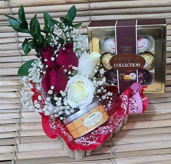 Arranjo de Rosas com Chocolates Rubi