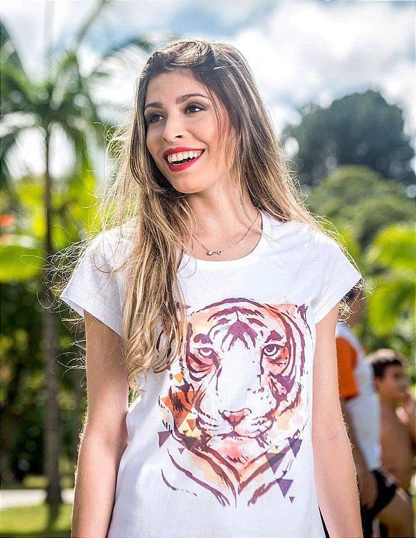 CAMISA FEMININA TIGRE AQUARELA