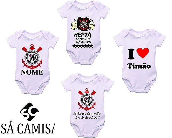 ed8bae02a6 Kit com 4 Body Infantil Personalizado Corinthians Paulista - Ribana malha  com Elasticidade