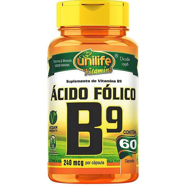 ÁCIDO FÓLICO B9 - 60CP - 240 MCG -  UNILIFE