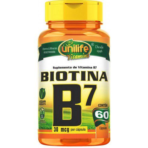 BIOTINA B7  30MCG - 60CAP - UNILIFE