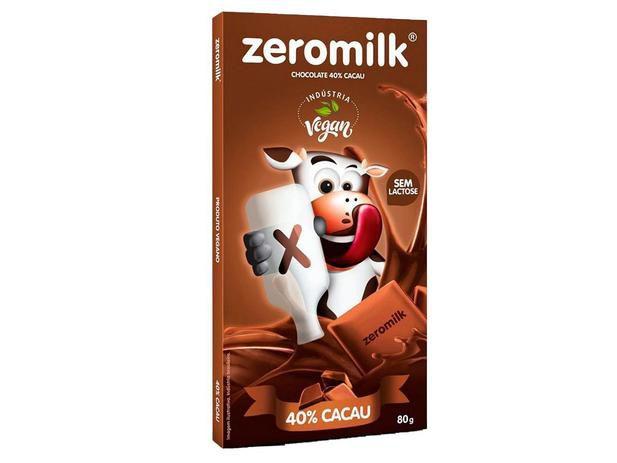 CHOCOLATE 40% CACAU VEGANO - 80G - ZEROMILK