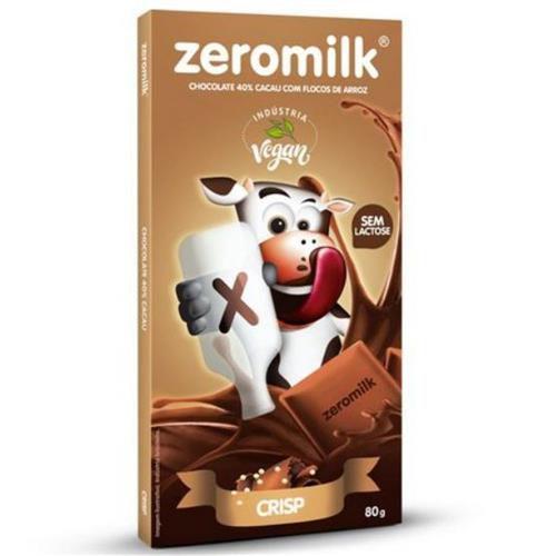 CHOCOLATE 40% CACAU C/FLOCOS DE ARROZ- 80G - ZEROMILK
