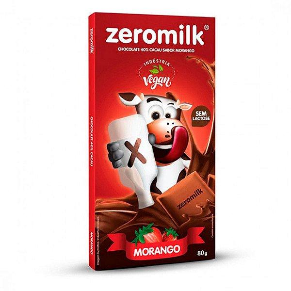 CHOCOLATE 40% CACAU C/MORANGO VEGANO - 80G - ZEROMILK