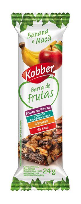 BARRA DE FRUTAS BANANA E MAÇA - 24G - KOBBER