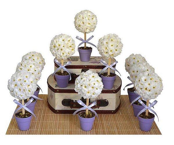 Kit Festa Decoração Topiaria Lilás e Branco
