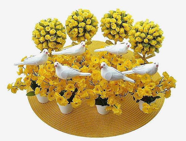 Kit Topiaria Amarelo Branco com Pombinha
