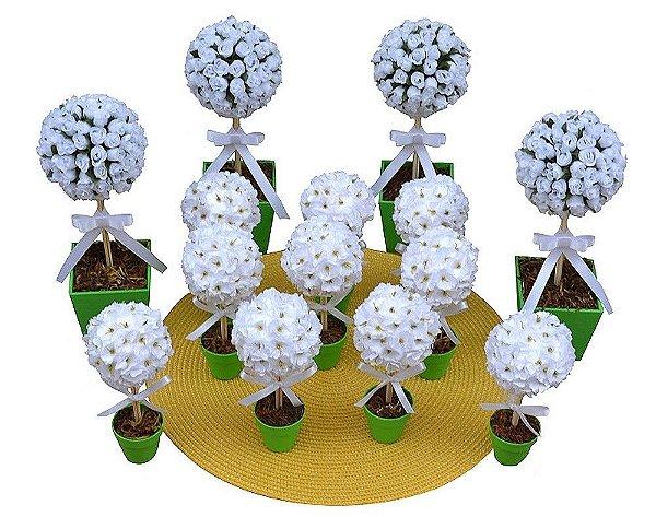 Kit Topiaria Verde e Branco