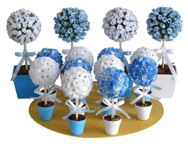 Kit Topiaria Azul e Branco