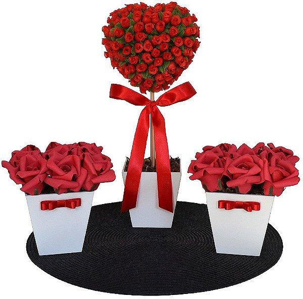 Kit Arranjos de Flores Vermelhas