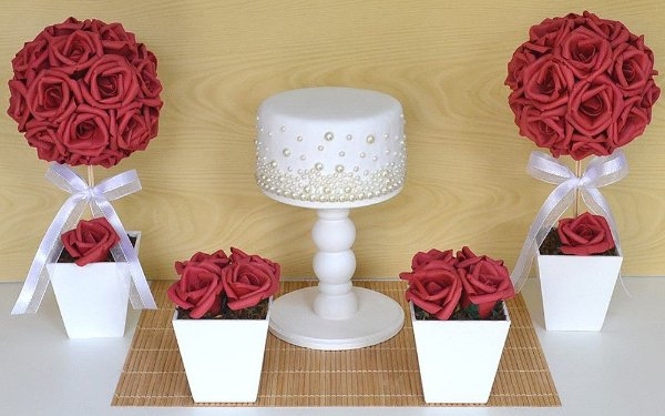 Kit Topiaria Rosas Vermelhas