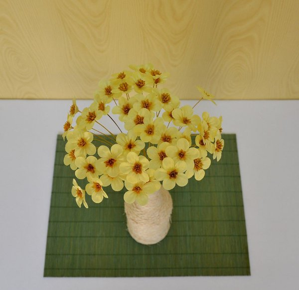75 Flores de Tecido Amarela P/ Decorar Garrafas