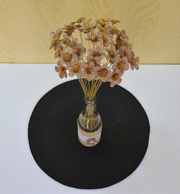 75 Flores de Tecido Dourado para Decorar Garrafas